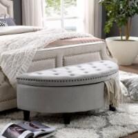 Nathan Light Grey Velvet Ottoman - Half Moon - Upholstered in Gray - Posh Living - 1