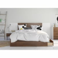 Foliage 4 Piece Queen Size Bedroom Set Walnut & White - 1
