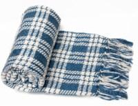 "Myne Throw Blanket Plaid Design 50""x60"", Blue and White - 1"