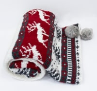 """Myne Throw Blanket Christmas Theme 50""""x60"""", White/Red/Grey - 1"""