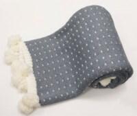 """Myne Throw Blanket Dotted Design with Pom Poms 50""""x60"""", Grey - 1"""
