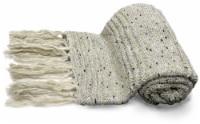 "Myne Throw Blanket With Tassel Fringe 50""x60"" Latte - 1"