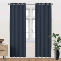 """Ackles Energy Saving Blackout Thermal Grommet Curtain Panel Navy 54""""x84"""" - 1"""