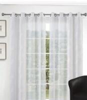 "Artemis Leaf Pattern Curtain Panel White Transparent 54""x95"" - 1"