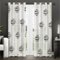 "Pollock Grey & Black Striped Diamond Shapes Curtain Panel  54""X84"" - 1"