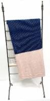 "Myne Throw Blanket Polka Dot Design 50X60"" Navy, White and Pink - 1"