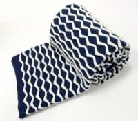 "Myne Throw Blanket Wavey Stripe Design 50X60"" Navy Blue and White - 1"