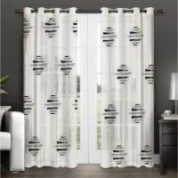 "Pollock Grey & Black Striped Diamond Shapes Curtain Panel  54""x95"" - 1"