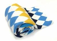 "Myne Throw Blanket Diamond Pattern 50X60"" White, Blue, Gold and Black - 1"