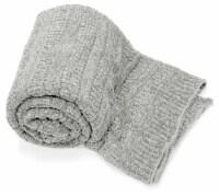 """Myne Throw Blanket Solid Grey Knit 50X60"""" - 1"""