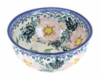Blue Rose Polish Pottery Apple Blossom Small Serving Scallop Bowl - 1