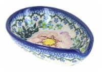 Blue Rose Polish Pottery Apple Blossom Small Spoon Rest - 1