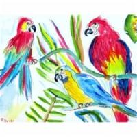 Betsy Drake PM392 Three Parrots Place Mat - Set of 4 - 4