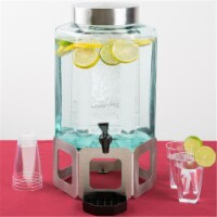 Cal Mil 1111-55 2 gal Stainless Steel Cutout 55 Beverage Dispenser with Ice Chamber - Green &