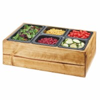Cal Mil 3585-99 Madera Reclaimed Wood Salad Station with Clear Ice Liner & 5 Black Pans - 22 - 1