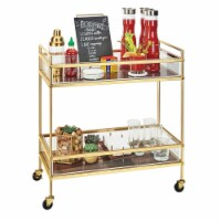 Cal Mil 3719-46 Mid-Century Brass Beverage Cart with 2 Walnut Shelves - 27 x 16 x 36 in.