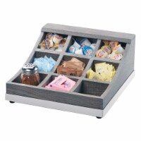 Cal Mil 3801-83 Ashwood 9 Compartment Gray Oak Wood Condiment Organizer - 13 x 13.5 x 6.125 i