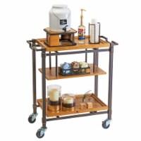 Cal Mil 3913-84 Sierra Bronze Metal & Reclaimed Wood 3 Shelf Beverage Cart - 36 x 17.5 x 39 i