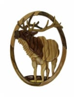 Bugling Bull Elk Hand Crafted Intarsia Wood Art Wall Hanging - One Size