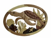 Swimming Sea Turtle Hand Crafted Intarsia Wood Art Wall Hanging - One Size