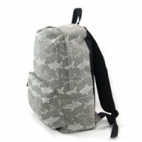 Grey and White Shark Infested Canvas Backpack - Medium