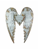 Galvanized Metal Winged Heart Wall Sculpture - One Size