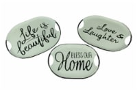 Black and White Decorative Metal Trays With Life Love and Home Wording Set of 3 - One Size