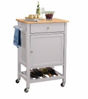 "25"" X 17"" X 34"" Natural And Gray Rubber Wood Kitchen Cart"