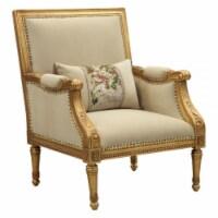 Ergode Accent Chair & Pillow Tan Flannel & Antique Gold - 1