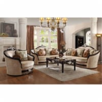 Ergode Sofa (w/7 Pillows) Tan Fabric & Black - 1
