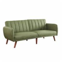 Ergode Adjustable Sofa Green Linen & Walnut Finish - 1