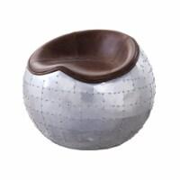 Ergode Ottoman Retro Brown Top Grain Leather & Aluminum - 1