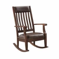 Ergode Rocking Chair Brown PU & Walnut Finish - 1