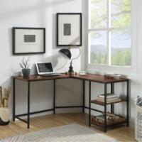 Ergode Built-in USB Port Writing Desk Rustic Oak & Black Finish - 1