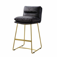 Ergode Counter Height Chair (1Pc) Vintage Black Top Grain Leather - 1