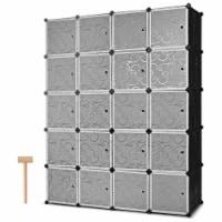 Costway DIY 20 Cube Portable Closet Storage Organizer Clothes Wardrobe Cabinet W/Doors - 57''x18''x70''