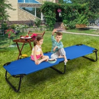 Gymax Folding Camping Bed Outdoor Military Cot Sleeping Blue - 1 unit