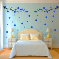 VWAQ Cherry Blossom Tree Branch Wall Decal - Flowers and Leaves Living Room Decor - 96 PCS - 1