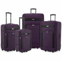Traveler's Choice Elite Luggage Softside Lightweight Rolling Luggage Set - Purple