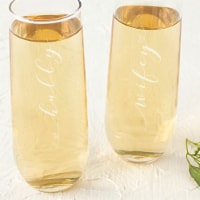 Cathys Concepts 2 Hubby & Wifey Stemless Champagne Flutes