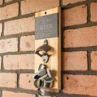Cathys Concepts BEER-4170 Open Beer Slate & Acacia Wall Mount Bottle Opener with Magnetic Cap - 1