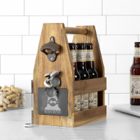 Cathys Concepts GM2397-ST Groomsman Acacia Slate Beer Carrier - 11.75 x 5.125 x 9 in. - 1