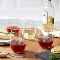 Cathys Concepts EUR-1110-4 21 oz European Cityscapes Stemless Wine Glasses - 1