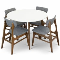 Carla 5-Piece Mid-Century Modern Dining set with 4 Fabric Dining Chairs in Gray - 1