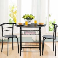 Gymax 3 Piece Dining Set Home Kitchen Furniture Table and 2 Chairs Black - 1 unit