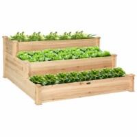Gymax Outdoor Garden 3 Tier Wooden Elevated Raised Vegetable Planter Gardening Kit - 1 unit