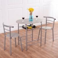 Costway 3 Piece Dining Set Table 2 Chairs Bistro Pub Home Kitchen Breakfast Furniture Grey - 1 unit