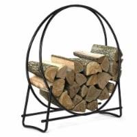 Costway 40-Inch Tubular Steel Log Hoop Firewood Storage Rack Holder Round Display