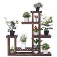 Costway Outdoor Wooden Plant Flower Display Stand 6 Wood Shelf Storage Rack Garden - 1 unit