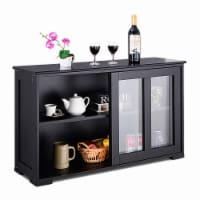 Costway Storage Cabinet Sideboard Buffet Cupboard Glass Sliding Door Pantry Kitchen - 41.9''x13.0''x24.6''